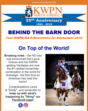 Behind the Barn Door – KWPN-NA E-Newsletter for October/November 2018